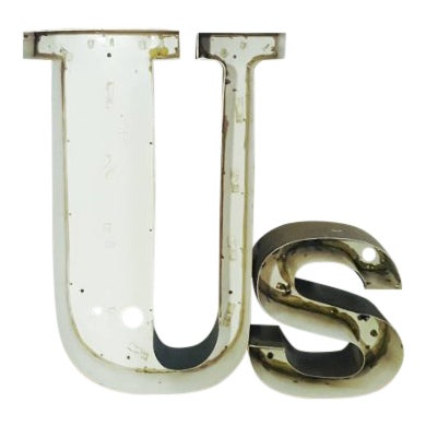 Vintage Metal Marquee 'Us' Letters For Sale