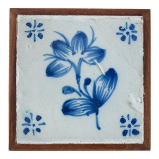 18th Century Antique Framed Floral Delft Tile For Sale