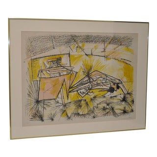 Vintage Framed Lithograph by Roberto Matta For Sale