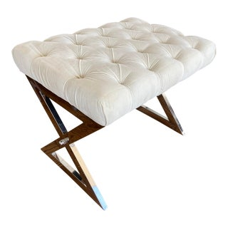 1980s Vintage White Footstool For Sale