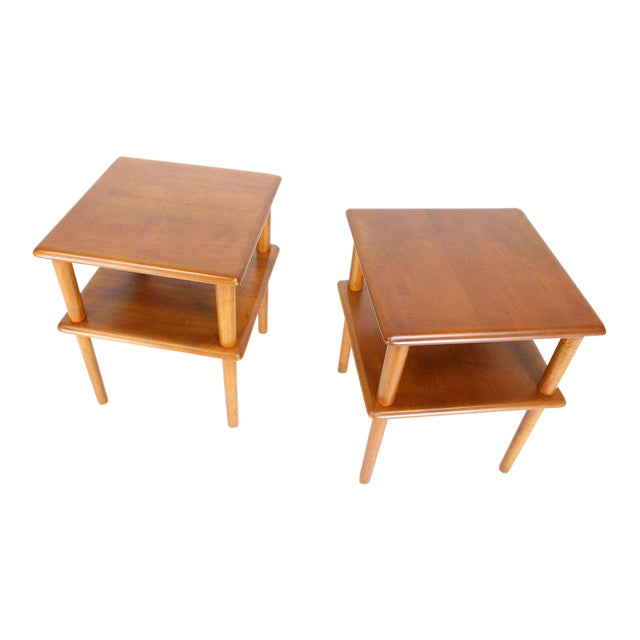Pair of Square Solid Maple Two-Tier End Side Tables For Sale