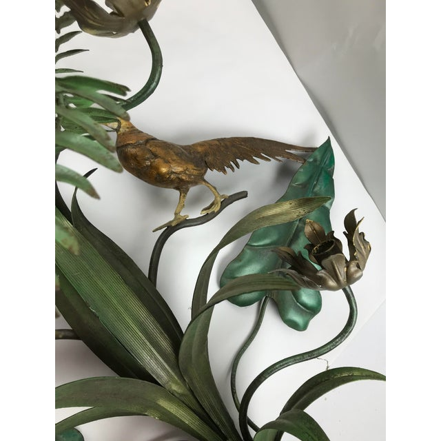 Vintage Italian Tole Wall Candle Sconce Pheasants Ferns Cattails For Sale In Chicago - Image 6 of 11