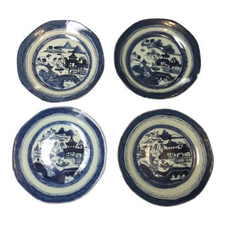 1800's Canton Chinese Blue and White Plates - Set of 4 For Sale