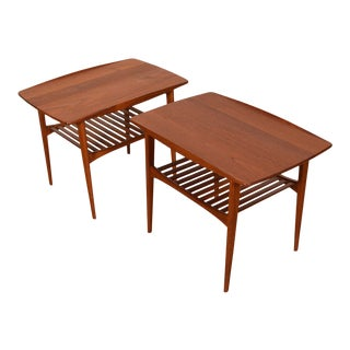 Solid-Teak End Tables W/ Slatted Shelves - a Pair For Sale