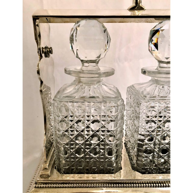 English Antique English Sheffield Silver Plate and Cut Crystal Three Bottle Tantalus. For Sale - Image 3 of 4