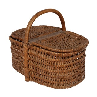 19th Century Antique French Picnic Basket With Carved Signature