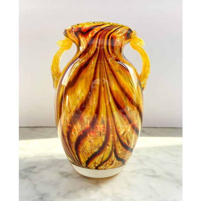 Glass 1960s Murano Swirl Glass Vase With Handles For Sale - Image 7 of 7