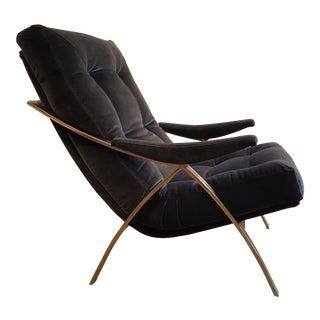 1970s Brass & Velvet Armchair