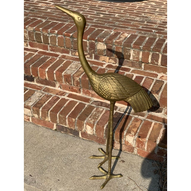 Mid-Century Modern Mid-Century Modern Monumental Life Size Brass Etched Crane For Sale - Image 3 of 12