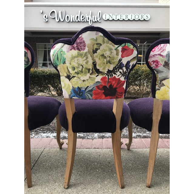 Wood 19th Century Antique Bohemian Tufted Rococo Dining Side Chairs Cabriole Legs - Set of 6 Mohair With Designers Guild Floral Print For Sale - Image 7 of 13