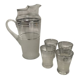 Art Deco MacBeth-Evans Platinum Ring Cocktail Pitcher and Glasses - Set of 5 For Sale