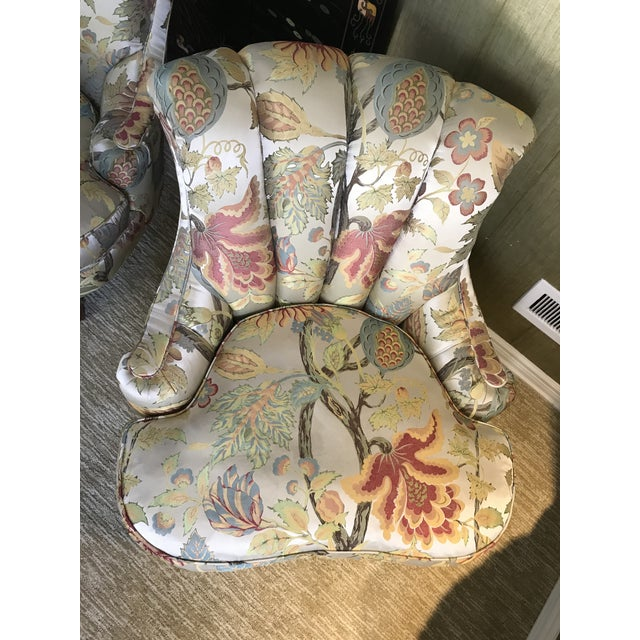 1940s Pullman Armless Floral Silk Upholstered Slipper Chairs - a Pair For Sale - Image 9 of 13