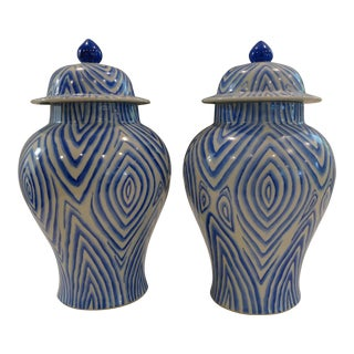 Faux Bois Classic Blue & White Ginger Jars - a Pair For Sale