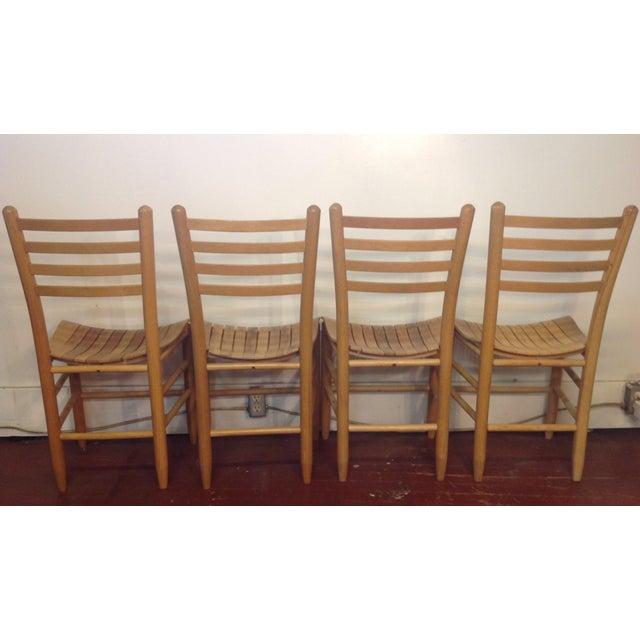 Vintage Sparrow Slat Ladder Back Chairs - Set of 4 - Image 5 of 9
