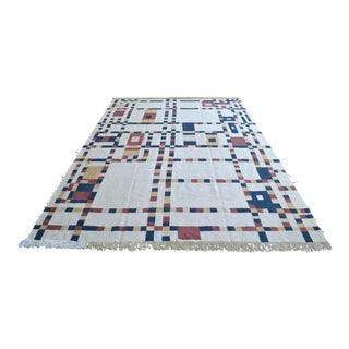 Piet Mondrian - Broadway Boogie Woogie Inspired Silk Hand Woven Area Kilim Wall Rug 6′5″ × 9′2″ For Sale