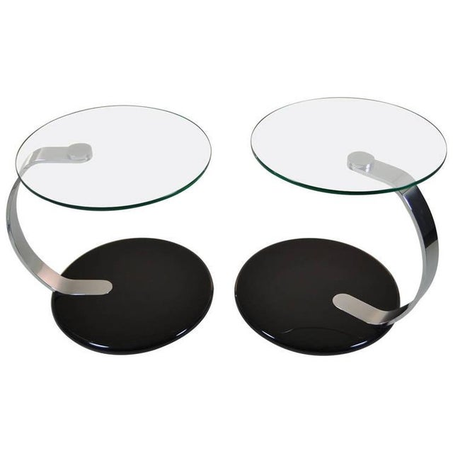 Pair of Modernist Chrome and Glass Tables - Image 10 of 10
