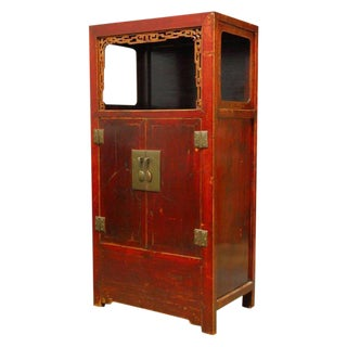 Chinese Red Lacquer Cabinet with Display Shelf For Sale