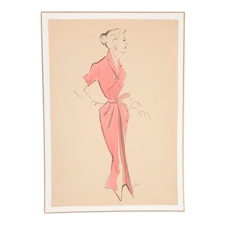 1940's Hendlin Fashion Illustration For Sale