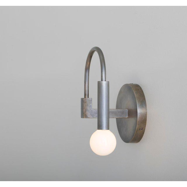 Arch Contemporary Wall Sconce in Matte Black With Satin Glass Globe For Sale In Portland, OR - Image 6 of 8