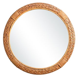 Hollywood Regency Round Woven Rattan & Bamboo Mirror For Sale