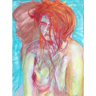Vintage Expressionist Pastel Drawing Nude Female by Gerard Haggerty For Sale