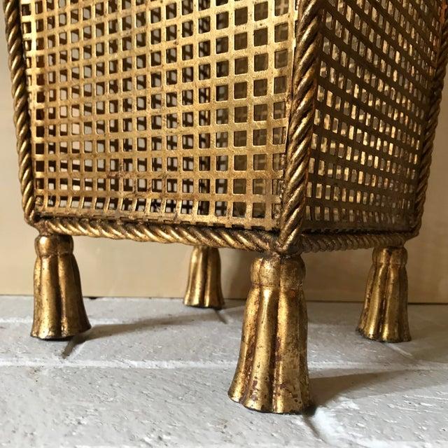Metal Italian Tassel Waste Basket For Sale - Image 7 of 11