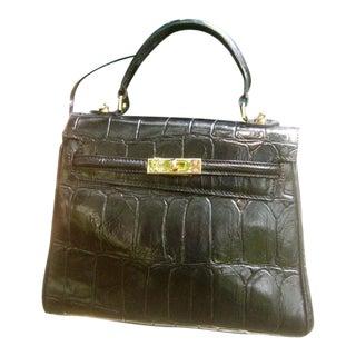 Elegant Embossed Black Leather Handbag For Sale