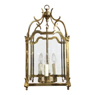 English Four-Light Hanging Lantern or Light Fixture of Brass with Beveled Glass For Sale