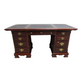 Lexington Cherry Leather Top Writing Desk Chippendale Knee Hole For Sale