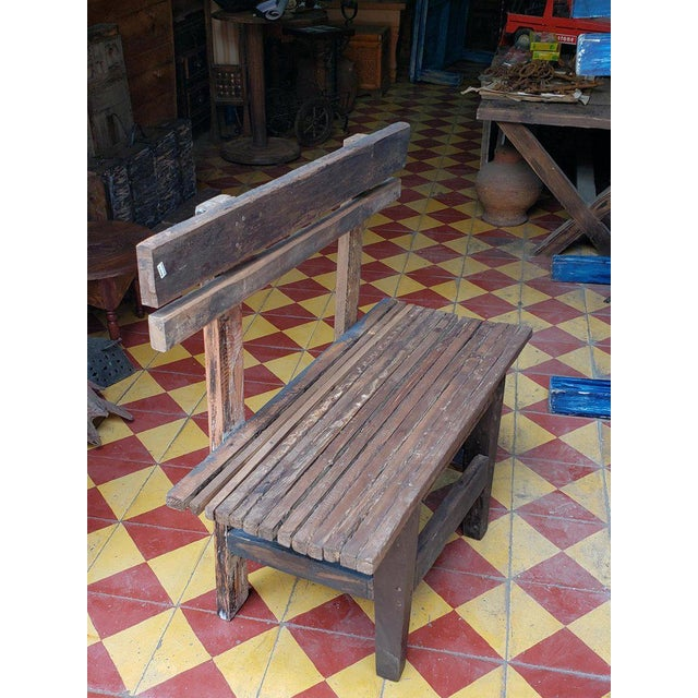 """What an old and beautiful park bench from Morocco. Made of mostly very old wood. This bench is approximately 30"""" long, 31""""..."""