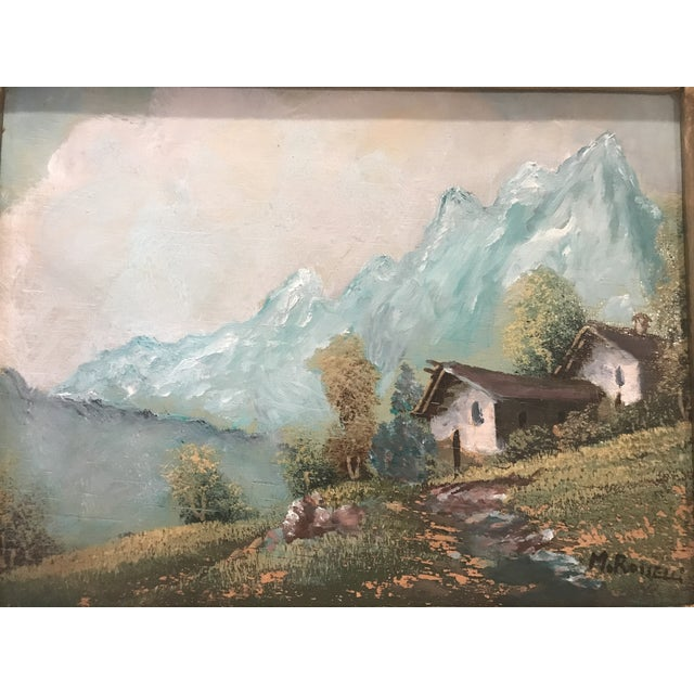 1950s Vintage Mid-Century M. Rosselli Framed Oil on Canvas Landscape Painting For Sale - Image 5 of 11