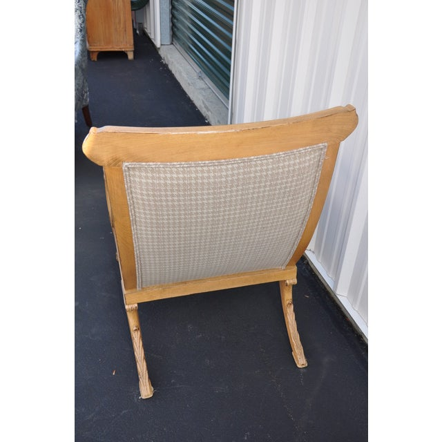 Trouvailles Furniture Inc. Trouvailles Hand-Carved Lounge Chair For Sale - Image 4 of 6