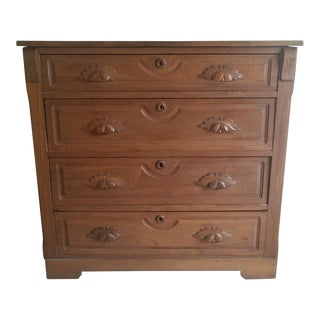 Antique Dark Wooden Chest of Drawers For Sale