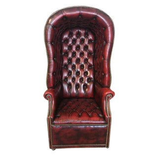 Studded Leather Upholstered Porter's Chair For Sale
