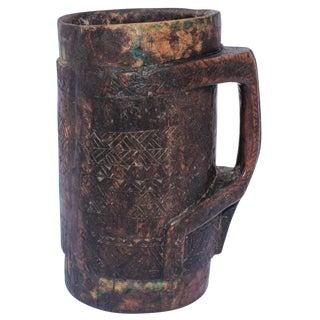 Tribal African Beaker Kuba Hand Carved Wooden Pot For Sale