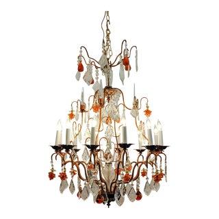 Vintage Venetian Murano Crystal Fruit Design Chandelier For Sale