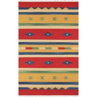 "Anatolian Hand Woven Cotton Rug - 4' 0"" X 6' 0"" For Sale"