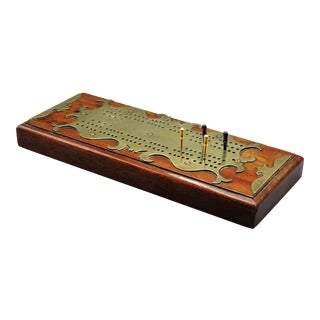 Antique Oak & Brass English Cribbage Board For Sale