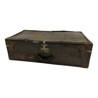 Vintage Industrial Military Brown Suitcase For Sale