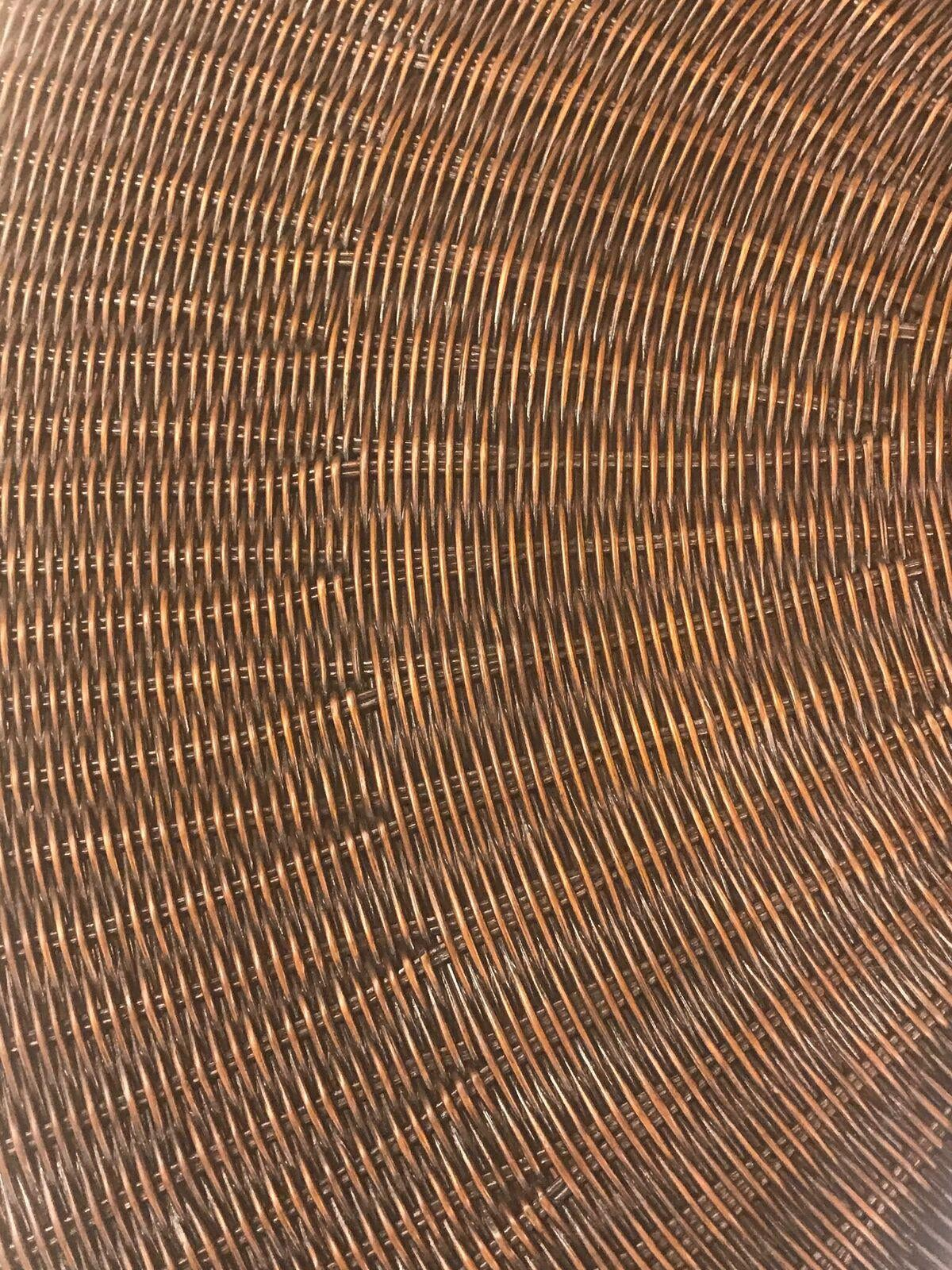 Modern Hickory Chair Wicker Round Coffee Table For Sale   Image 3 Of 4