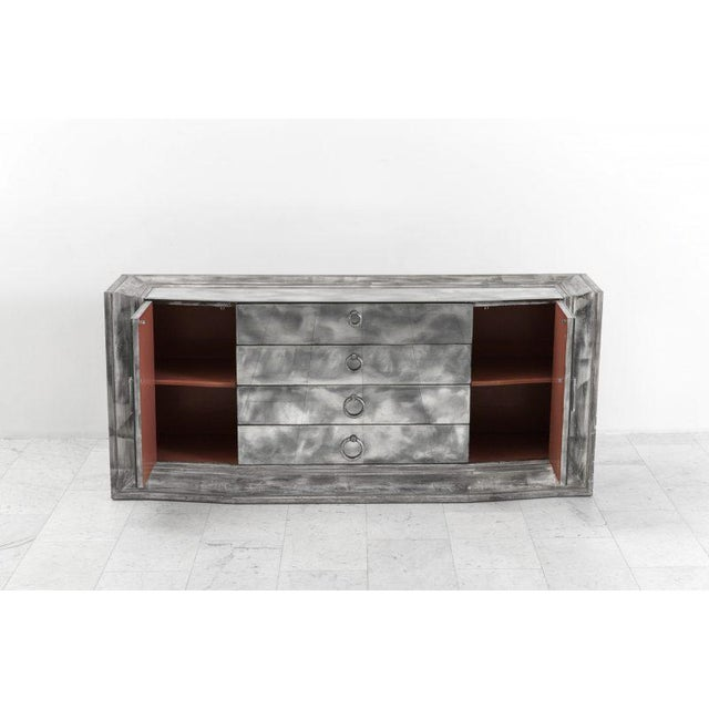 Glass James Mont Smoked Mirror and Silver Leafed Breakfront Sideboard, Usa, 1950s For Sale - Image 7 of 8