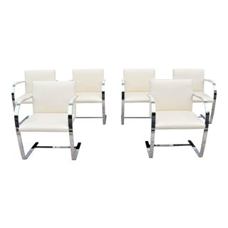 Mid-Century Modern Ludwig Mies Van Der Rohe for Knoll Ivory Leather Flat Bar Brno Chairs - Set of 6 For Sale