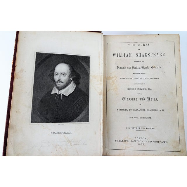 Cottage Antique Leather Bound Shakspeare Book For Sale - Image 3 of 10