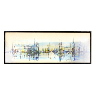 Mid-Century Boats in the Harbor Abstract Expressionist Painting, Signed and Dated 1969 For Sale