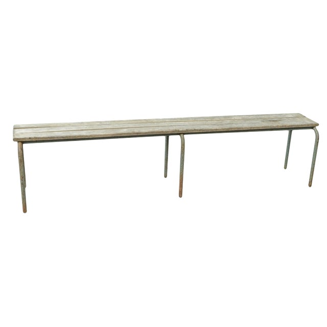 Pair of Swedish industrial slatted benches - single also available. Will separately for $550 each
