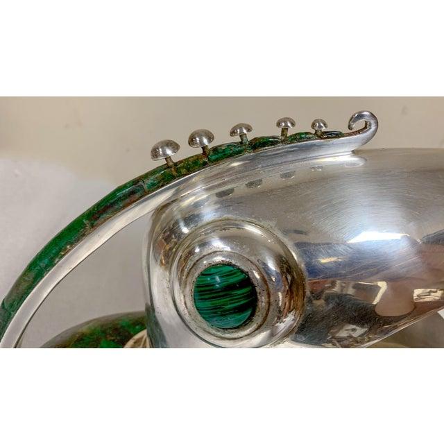 Los Castillo Los Castillo Silverplate & Malachite Toucan Pitcher For Sale - Image 4 of 9
