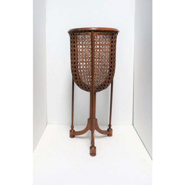 Vintage Wicker Cane Plant Stand For Sale - Image 9 of 13