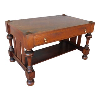 "Antique Mission Oak Arts & Crafts Tudor Style Library Writing Desk 50""w"