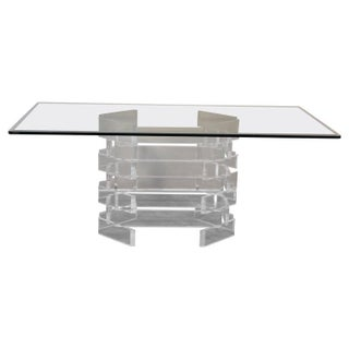 Modern Lucite Brick Pattern Dining Table For Sale