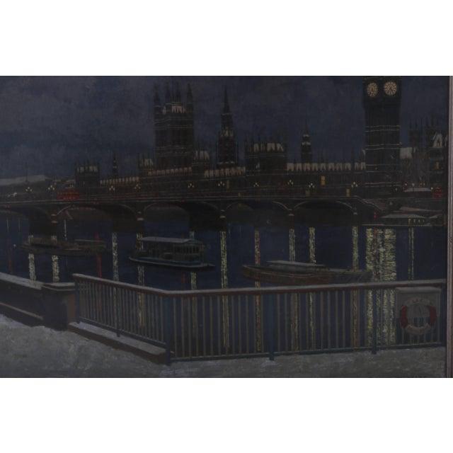 "Metal ""London Bridge at Night"" Acrylic Painting by David Thomas For Sale - Image 7 of 10"